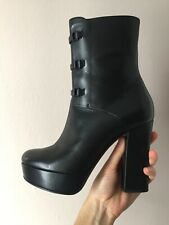 Emporio Armani Black Leather Boots High Heels Size 38 (5 UK)