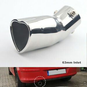 63mm Inlet Exhaust Tip Pipe Car Heart Shape Exhaust Pipe Tail Throat Stainless