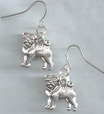 Pug/Bull Dog earrings-2 side silver tibetan, alloy metal charms hook/drop/dangle