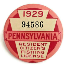 Vintage 1929 Pa Pennsylvania Resident Fishing License Button Pin With Paper