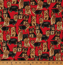 Cotton Dogs Yorkshire Terrier Animal Cotton Fabric Print by the Yard D478.14
