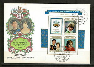 Aitutaki 1982 The 21st Anniversary of the Birth of Diana - Minisheet FDC - Mint3