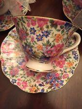 ONE GRACE'S TEAWARE FlOWER GARDEN TEA CUP & SAUCER- NEW