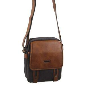 Pierre Cardin Canvas Cross-Body Bag Unisex Messenger Bag Flap Over