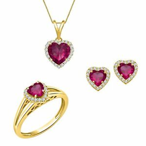 PINK EXCELLENT HEART PENDANTS 14K YELLOW GOLD OVER STERLING SILVER RING EARRINGS