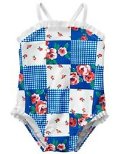 Gymboree Gazebo Party Blue Floral Patchwork 1-Piece Swimsuit Baby Girl 18-24 Mos