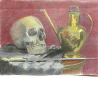 VANITÉ NATURE MORTE PASTEL ORIGINAL début XXe circa 1920 au format 29x41cm