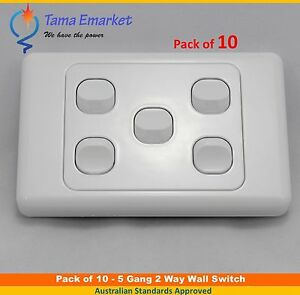 10 pieces - 5 Gang 2 Way Electrical Wall Light Switch SAA