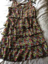 Untold brand, yellow & red Floral Print Chiffon Tiered 20's-Style Dress, 8