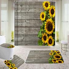 Sunflower Bathroom Shower Curtain Bath Non-slip Toilet Lid Cover Rug Set Decor