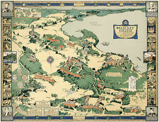 1943 Map Wellesley College Campus Pictorial Birds-Eye View Wall Art Poster 11x14