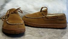EDDIE BAUER Men's Woodland Suede Slippers Shearling Lined Moccasin Sz 8 Tan EUC