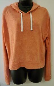 Hollister Women's Melon Terry Cloth Cropped Hoodie Sweatshirt Long Sleeve M