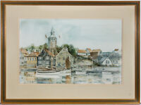 Alexander Prowse PS - Signed & Framed 1987 Watercolour, Norwegian Fishing Port