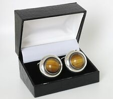 Danish silver cuff links made by N.E.From set with Tiger Eye