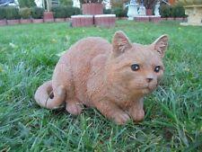Gartenfiguren,Katze hockend, Steinguss, Katzen, Statue,Tierfigur, Top Gartendeko