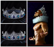 Male crown Man costume Blue Medieval Men's crown Silver King Crown Dolce crown