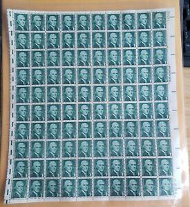 US 1278 Thomas Jefferson 1c, full sheet of 100 MNH EFO: Guttersnipe gutter snipe
