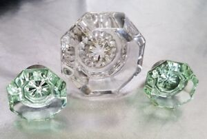 VINTAGE GLASS DRAWER KNOBS WITH GREEN TINT & CLEAR LEAD CRYSTAL DOOR KNOB LOT