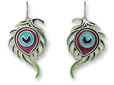 Sue Coccia Peacock Feather Earrings Silver-Plated Nickel-Free Zarlite by Zarah