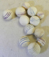 #12999m Vintage Group of 12 Small German Handmade Unglazed China Marbles