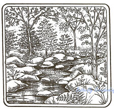 Stream Rocks Trees Scene Wood Mounted Rubber Stamp NORTHWOODS PP9111 New