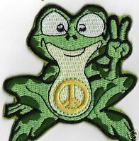 HIPPY GREEN PEACE FROG  IRON ON PATCH BUY 2 GET 1 FREE