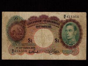 Barbados:P-2,1$,1939 * King George VI * F+ *