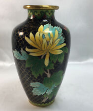 Vintage 7� Cloisonne Bud Vase Black With Yellow Green Floral Flowers