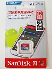 SanDisk 16GB Nuevo Ultra Micro SD SDHC Tarjeta UHS-I Class10 A1 98MB/S Full HD