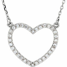 """Diamond Small Heart 16"""" Necklace In 14K White Gold (1/4 ct. tw.)"""
