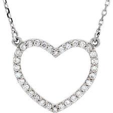 Diamante Corazón Pequeño 40.6cm Collar en 14k ORO BLANCO ( 1/4 Ct. TW