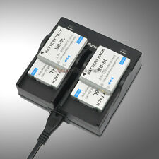 Dual AC Charger +4x Battery for NB-6L NB-6LH Canon SD1200 SD980 SX500 IS CB-2LYE