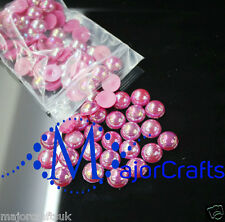 200pcs 8mm Dark Pink AB Flat Back Half Round Resin Pearls Scrapbook Gems C10
