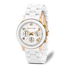 MICHAEL KORS Ladies Watch MK5145 White Two tone Chrono Bracelet Watch Retail$275