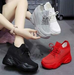 Womens Breathable Fashion Sneakers Platform Wedge High Heels With Holes Comfort