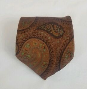 Ermenegildo Zegna Men's 100% Silk Neck Tie Brown Paisley 60L 4W