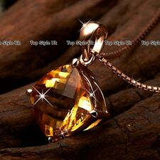 Rose Gold Diamond Necklace Crystal Pendant Gifts for her Women Wife Mum Girl WE1
