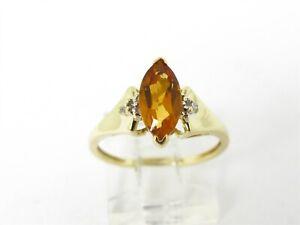 Estate 10k Yellow Gold Natural 1ct Citrine & Diamond Ladies Ring 2.0g