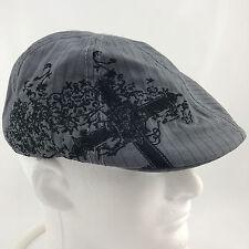 Lids Black Cross Flat Cap Style Gray Striped L/XL Ivy Pub Cabbie Driver Hat