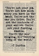 Tyler Durden Quote Dictionary Art Print, Quote Vintage Inspiriation Fight Club
