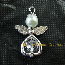 5Pcs Silver Plated Wings Heart Dancing White Angel Charms Pendants 21.5x33mm