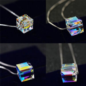 Fashion Womens Necklace Jewelry Magic Cube Crystal Chain Pendant Choker Gift YU