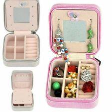 Portátil Mini Caja de joyería de cuero para organizador de almacenamiento de información de Viaje Anillos pendientes