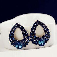 1 Paire femmes élégantes Ear Blue Crystal strass Boucles d'oreilles Bijoux DQCA