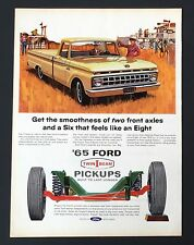 1965 Ford Pickup Truck Advertisement Axle Smoothness Cowboy Horse Print AD