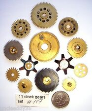 Lot of 11 vintage clock brass small and large gears wheels Steampunk parts #117