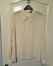 ❤️ Topshop cream chiffon collared long sleeved blouse size 12