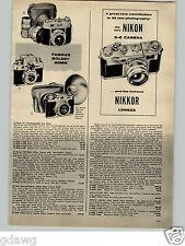 1956 PAPER AD S-2 S2 Nikon Camera Nikkor Lens Lenses 35MM Range Viewfinder