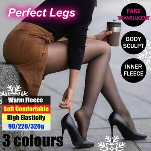 Warm Fleece Pantyhose High Elasticity Sexy Tights Stockings Fake Translucent